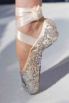 Pearl crystal ballet shoes
