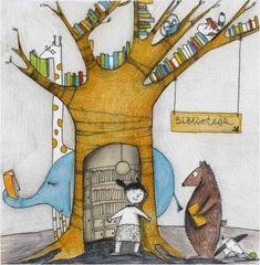A forest, a library … books and readers / Un bosque, una biblioteca… libros y lectores (ilustración de Francesca Quatraro)