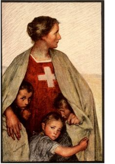Painting ~ Red Cross nurse with children