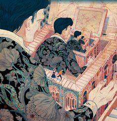 By Victo Ngai, from Hong Kong. For an unusual instance, Art Nouveau patterns in an Asian print, when Art Nouveau took part of it's inspiration from Japanese line art. Not to mention an allusion to M.C. Escher, Chinese Boxes, and Russian Dolls.
