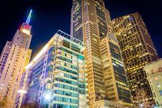 Cluster of skyscrapers at night, seen from Main Street Garden Park, in Dallas, Texas [JonBilousPhotography] Garden Park, Main Street, Maine, Multi Story Building, Stock Photos, Explore, Skyscrapers, Night, Dallas Texas