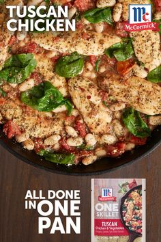 Treat your crew to a skillet meal inspired by the warm and sunny flavors of the Mediterranean. With notes of oregano, sun-dried tomato and lemon, McCormick® ONE Seasoning Mix brings chicken, beans, tomatoes and spinach to life in just 20 minutes. Casserole Recipes, Crockpot Recipes, Diet Recipes, Chicken Recipes, Cooking Recipes, Healthy Recipes, Entree Recipes, One Pot Meals, Easy Meals