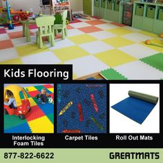 Kid's Flooring for Playrooms, Bedrooms, and Daycares including soft foam mats, carpet tiles and rugs, and portable mats. #kidsroom