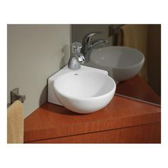 Cheviot Corner Overcounter or Wall Mount Bath Sink with Single Hole Drilling White Corner Sink Bathroom, Small Bathroom Sinks, Wall Mounted Bathroom Sinks, Tiny Bathrooms, Bathroom Design Small, Bathroom Fixtures, Bathroom Ideas, Tiny Bathroom Makeovers, Master Bathroom