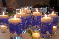 Blue Orchid Centerpieces with Floating Candles
