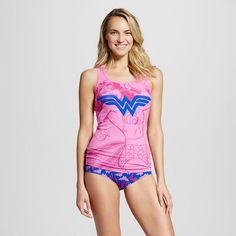 Warner Bros. Women's Wonder Woman Tank and Hipster Set - Pink/Purple