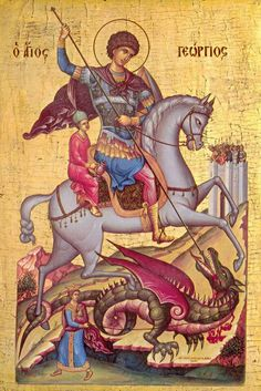 Saint George, patron saint of England, in a Medieval Byzantine Icon. Byzantine Icons, Byzantine Art, Catholic Saints, Patron Saints, Religious Icons, Religious Art, Patron Saint Of England, Saint George And The Dragon, Saint Georges