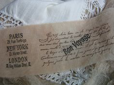 FRENCH SCRIPT tea dyed hand stamped fabric trim by ThePeonyShanty, $4.85