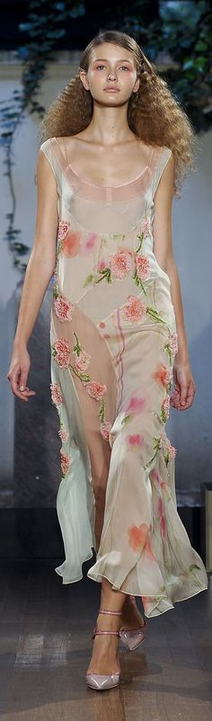 I love the flowers, the flirtiness of the ruffled hem, and the fabric - it looks like it's so light and silky!  Philosophy di Alberta Ferretti