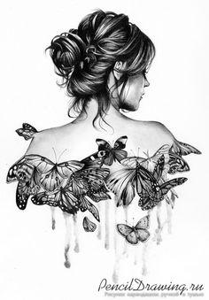 Бабочки на спине девушки, нарисованные карандашом