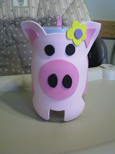 Kimberbucket: Piggy Bank Craft - Lucky Penny Day is May Money Smart Week - April Piggy Bank Craft, Parents Room, Lucky Penny, Bottle Crafts, Activities For Kids, Donation Jars, Pigs, Teaching, Tin Cans