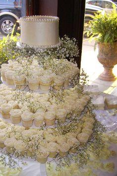 Rustic wedding cupcake display. @ http://JuliesCafeBakery.com #cupcakes #recipe #cakes