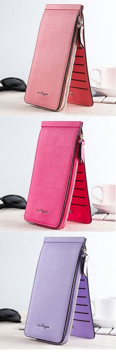 US$9.59 Women Men 26 Multi-slots Card Holder Ultrathin PU Leather Zipper Business Card Case 5.5'' Phone Bags