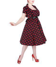 Black & Red Polka Dot A-Line Dress & Bolero