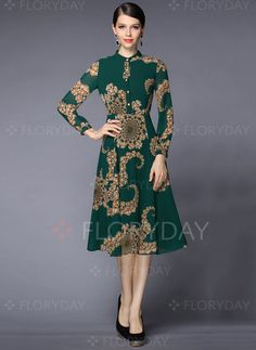 Dresses - $78.99 - Polyester Geometric Long Sleeve Knee-Length Vintage Dresses (1955095523)