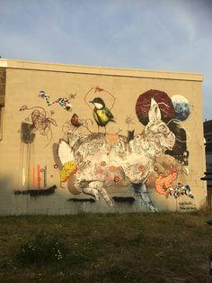 Mural, Street Art, Rabbit, Great tit, Collin van der Sluijs & Rutger Termohlen, Netherlands, Goes, Voorstad, 2015
