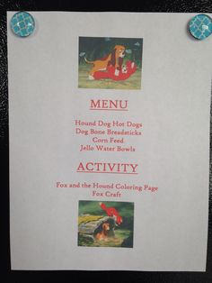 Fox and the Hound Dinner Menu - Fox and the Hound Movie Night - Disney Movie Night - Family Movie Night