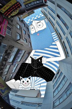 """jedavu: """"Illustrator Thomas Lamadieu Continues to Imagine the Strange Inhabitants Living in the Sky Between Buildings """" Well these are lovely. Art And Illustration, Graphic Design Illustration, Art Illustrations, Ciel Art, Street Art, Illustrator, Creative Landscape, Sky Design, Colossal Art"""