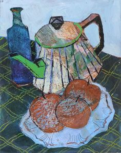 Jenny Grevatte - Tin Teapot Still Life Collage Artists, Mixed Media Artists, Painting Still Life, Teapot, All Art, Plum, Art Ideas, Paintings, Fine Art