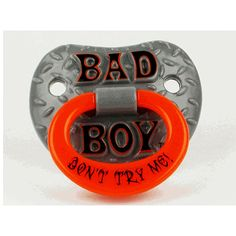 This pacifier is funny, yet functional and safe. You are sure to get a few double takes whenever this unique pacifier is in use. Design: Bad Boy Contoured shield with ventilation holes Made with a sil