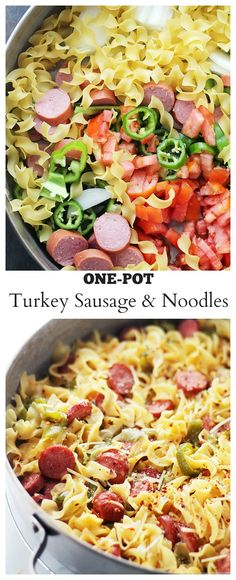 Quick and easy, one-pot dinner with egg noodles, turkey sausage and fresh vegetables. I'd use Italian sausage in place of the turkey sausage. Sausage Recipes, Turkey Recipes, Pasta Recipes, Cooking Recipes, Healthy Recipes, I Love Food, Good Food, Yummy Food, Tasty