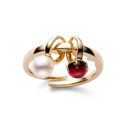 a ring with garnet plus pearl, from TASAKI