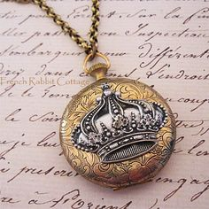 CROWN NECKLACE LOCKET / Silver Crown by FrenchRabbitCottage1