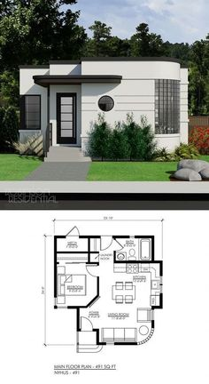 Small House House Design 2019 Contemporary Nyhus 491 Small Tiny Houses In 2019 House Simple Enough Good In 2019 Tiny House Design Dream House 30 Beautiful Small House Front Elevation Tiny House Design, Modern House Design, House Design Plans, Small Contemporary House Plans, Contemporary Homes, Small House Plans, Tiny Home Floor Plans, Home Plans, Round House Plans
