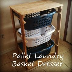 DIY Laundry Basket Organizer  Enjoy the convenience of using laundry baskets as drawers and the versatility of an easily constructed shelving organizer.