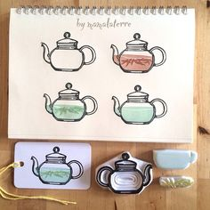 """A cup of tea a day keep your worries away"" #hanco #hanko #hkshop #handmade #handcraved #eraserstamp #rubberstamp #drawing #bymamalayerre #แกะยางลบ #teapot #stampart"
