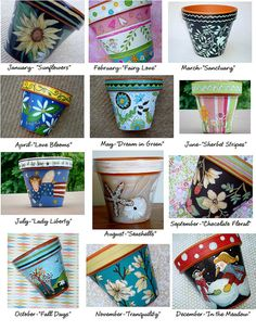 Pot of the Month Club Hand Painted Terracotta by ThePaintedPine