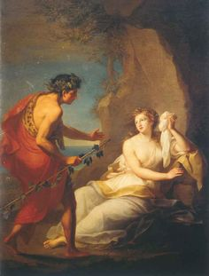 """Bacchus Discovering Ariadne On Naxos"" by Angelica Kauffman (1741 - 1807), Austria-England    I love Their story. <3"