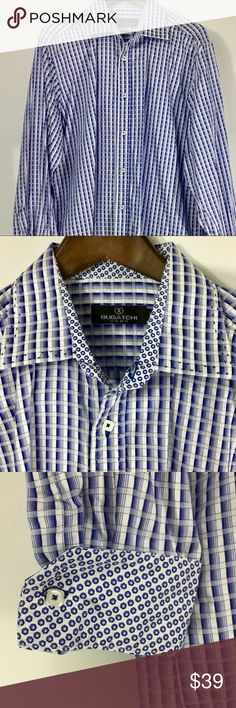 Bugatchi XL Men's Long Sleeve Button Down Blue Men's Long Sleeve Button Down Bugatchi Contrast Inside Collar and Cuffs, Square buttons, XL, just dry-cleaned, excellent condition! Bugatchi Shirts