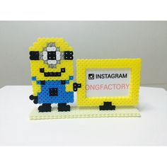 Minion card holder perler beads by ongfactory