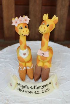 Giraffe Wedding Cake Topper With Cowboy And By Perlillapets