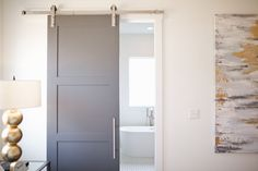 Cool Interesting Sliding Door Design That Will Improve Your Bathroom Style Nowadays the existence of sliding bathroom doors is becoming increasingly popular among designers and homeowners with contemporary decor. This is beca. Farmhouse Bathroom, Sliding Bathroom Doors, Bathroom Inspiration, Bathroom Decor, Small Bathroom Layout, Door Design, Modern Sliding Doors, Bathroom Interior Design, Sliding Glass Door