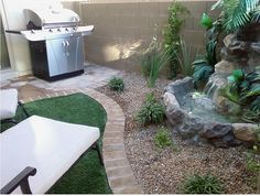 small backyard ponds with fire pit patio | Backyard Patio Ideas-Small Patio Water Feature