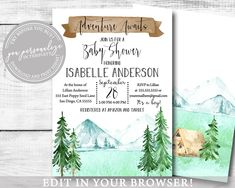 Aventure Awaits Rustic Woodland Baby Invitation, Girl Or Boy, Gender Neutral EDITABLE Mountains Landscape Trees Printable Template, Baby Invitations, Baby Shower Invitations For Boys, Online Printing, Etsy Cards, Photo Center, Woodland Baby, Mountain Landscape