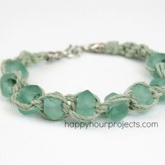 Glass Bead Macrame Bracelet