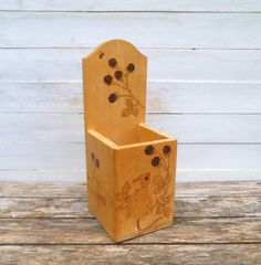 Wooden Utensils Box, Candle Box, Farmhouse Kitchen Storage Box. Etched  Mouse And Blackberries