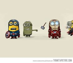 Minion Avengers! I am repining this because it is awesome. Also, I am repining this to test out mentioning people in pins. @Elizabeth Armbrecht this is for you :)