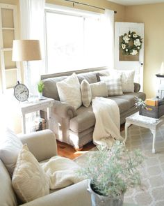Refreshed Modern Farmhouse Living Room. Great ideas to decorate for late winter and early spring!