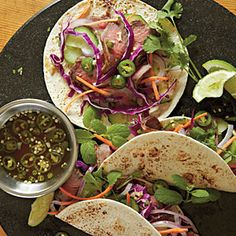 Vietnamese Barbecue Tacos - marinade the meat the night before and dinner is on the table as quickly as you can grill the steak and slice the toppings.