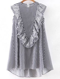 Vertical Striped Sleeveless Ruffle Dipped Hem Zipper Dress -SheIn(Sheinside) Mobile Site