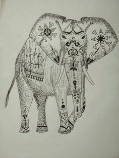 Painted Indian elephant.