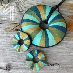 https://flic.kr/p/a1PVQX | Turquoise Rays set | polymer clay jewellery - set
