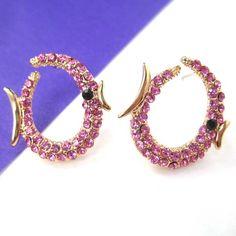 $6 Fish Sea Animal Stud Earrings in Gold with Pink Rhinestones