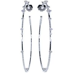 Mattia Cielo Rugiada Diamond Hoop Earrings ($4,600) ❤ liked on Polyvore featuring jewelry and earrings