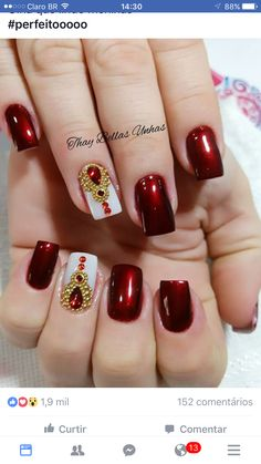 Nails Ideas Red Art Designs Ideas For 2019 Red Manicure, Red Nails, Hair And Nails, Bling Nails, Glitter Nails, Toe Nail Designs, Nails Design, Girls Nails, Super Nails