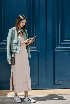 July 5, 2016 Tags Pink, Paris, Green, Adidas, Women, Model Off Duty, Models, Cellphones, Leather Jackets, Sneakers, Jackets, Dresses, Bags, Pastels, Hair, 1 Person, Eyes, FW16 Women's Couture